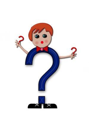 child holding sign: Question mark, in the alphabet set Living Letters, has head, arms and legs.  The boy cartoon figure is also holding a duplicate letter in red.