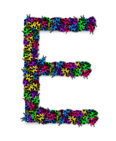 The letter E, in the alphabet set Lotsa Ladybugs, is covered in crawling ladybugs.  Ladybugs are blue, yellow, green, purple and hot pink. photo