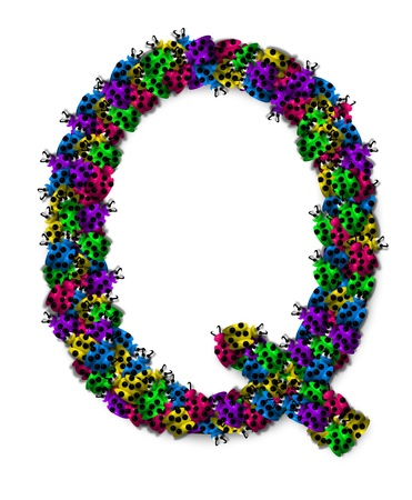 The letter Q, in the alphabet set Lotsa Ladybugs, is covered in crawling ladybugs.  Ladybugs are blue, yellow, green, purple and hot pink.