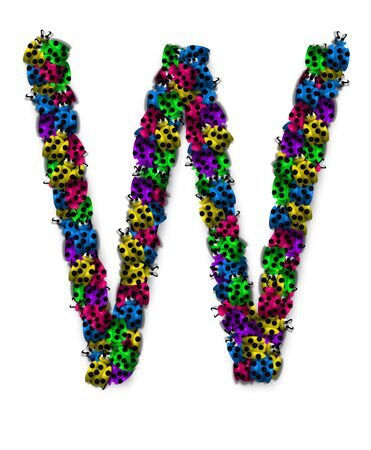 The letter W, in the alphabet set Lotsa Ladybugs, is covered in crawling ladybugs.  Ladybugs are blue, yellow, green, purple and hot pink. Reklamní fotografie