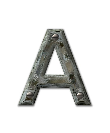Letter A, in the alphabet set Metal Grunge, is industrial steel fastened with 3d screws.  Letter is dirty and grungy.