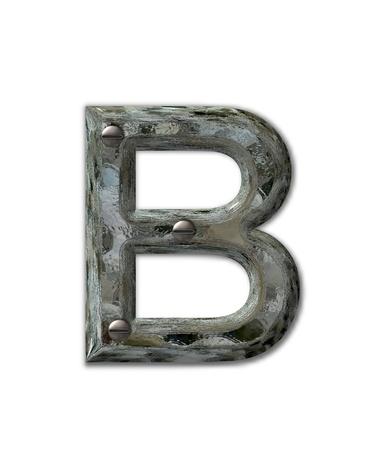 fastened: Letter B, in the alphabet set Metal Grunge, is industrial steel fastened with 3d screws.  Letter is dirty and grungy.