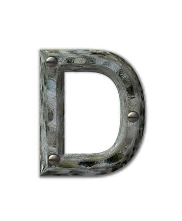metalic: Letter D, in the alphabet set Metal Grunge, is industrial steel fastened with 3d screws.  Letter is dirty and grungy. Stock Photo