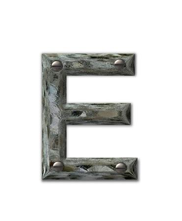 アルファベットの手紙 E 金属グランジを設定、3 d 本ねじ工業用鋼です。 手紙は汚いと汚れたです。 写真素材
