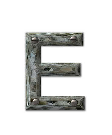 Letter E, in the alphabet set Metal Grunge, is industrial steel fastened with 3d screws.  Letter is dirty and grungy.