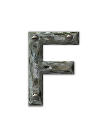 fastened: Letter F, in the alphabet set Metal Grunge, is industrial steel fastened with 3d screws.  Letter is dirty and grungy.