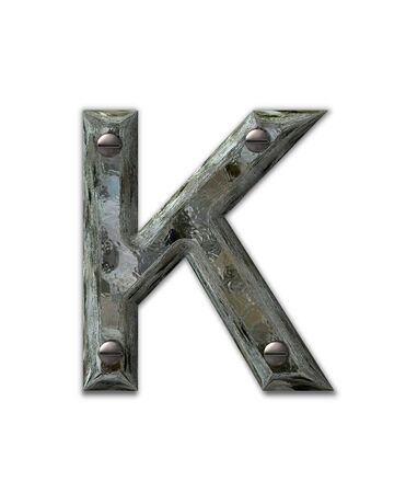 metalic: Letter K, in the alphabet set Metal Grunge, is industrial steel fastened with 3d screws.  Letter is dirty and grungy.
