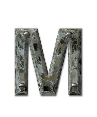 metalic: Letter M, in the alphabet set Metal Grunge, is industrial steel fastened with 3d screws.  Letter is dirty and grungy. Stock Photo