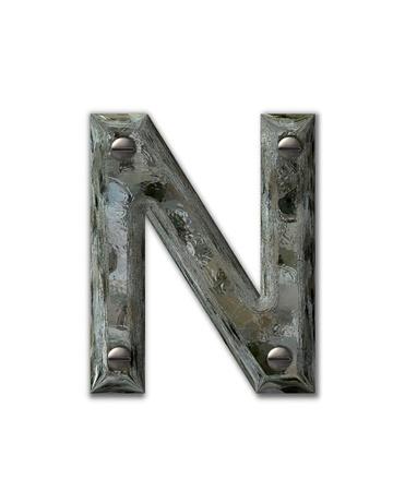 metallschrott: Buchstabe N im Alphabet Satz Metal Grunge, ist die industrielle Stahl mit 3d Schrauben befestigt. Brief ist schmutzig und grungy.