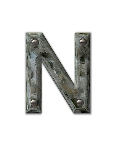 metal letter: Letter N, in the alphabet set Metal Grunge, is industrial steel fastened with 3d screws.  Letter is dirty and grungy.