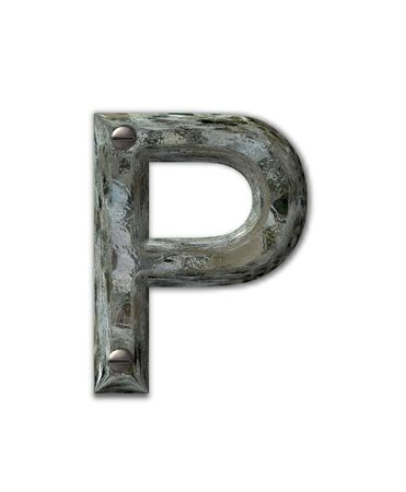 Letter P, in the alphabet set Metal Grunge, is industrial steel fastened with 3d screws.  Letter is dirty and grungy. photo