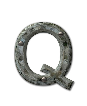 Letter Q, in the alphabet set Metal Grunge, is industrial steel fastened with 3d screws.  Letter is dirty and grungy. photo
