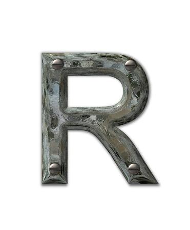 문자 R, 알파벳 집합에서 금속 그런 지, 산업 철강 3d 나사로 고정됩니다. 편지가 더럽고 지저분합니다.