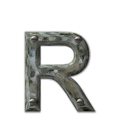 metal: Letter R, in the alphabet set Metal Grunge, is industrial steel fastened with 3d screws.  Letter is dirty and grungy.