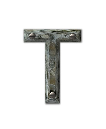 Letter T, in the alphabet set Metal Grunge, is industrial steel fastened with 3d screws.  Letter is dirty and grungy. photo