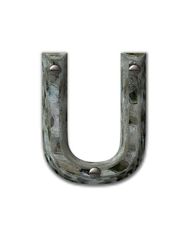 fastened: Letter U, in the alphabet set Metal Grunge, is industrial steel fastened with 3d screws.  Letter is dirty and grungy.