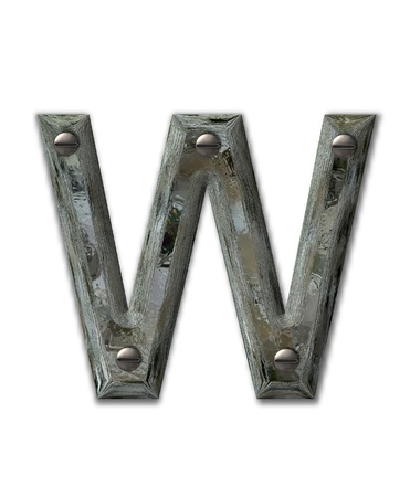 scrap metal: Letter W, in the alphabet set Metal Grunge, is industrial steel fastened with 3d screws.  Letter is dirty and grungy.