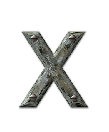 metalic: Letter X, in the alphabet set Metal Grunge, is industrial steel fastened with 3d screws.  Letter is dirty and grungy.
