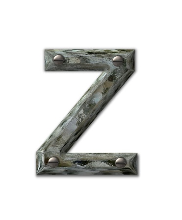 metalic: Letter Z, in the alphabet set Metal Grunge, is industrial steel fastened with 3d screws.  Letter is dirty and grungy.