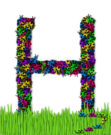 The letter H, in the alphabet set Lotsa Ladybugs, is covered in crawling ladybugs.  Ladybugs are blue, yellow, green, purple and hot pink. photo