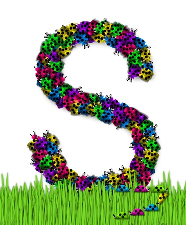 The letter S, in the alphabet set Lotsa Ladybugs, is covered in crawling ladybugs.  Ladybugs are blue, yellow, green, purple and hot pink. Zdjęcie Seryjne