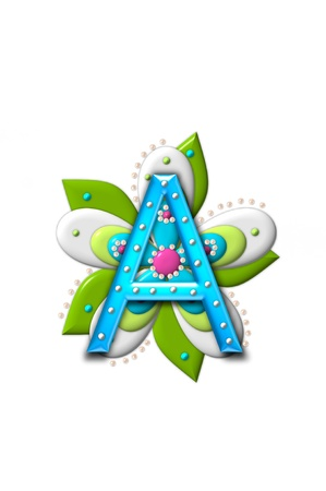 coordinating: A, in the alphabet set Petal Points is decorated with white 3D beads.  It sets on the top of a coordinating flower with green leaves.