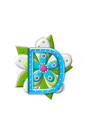 coordinating: D, in the alphabet set Petal Points is decorated with white 3D beads.  It sets on the top of a coordinating flower with green leaves.