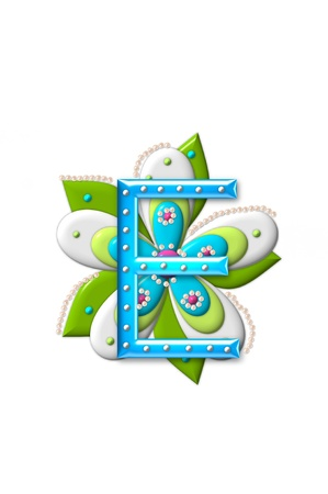 coordinating: E, in the alphabet set Petal Points is decorated with white 3D beads.  It sets on the top of a coordinating flower with green leaves. Stock Photo