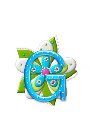 coordinating: G, in the alphabet set Petal Points is decorated with white 3D beads.  It sets on the top of a coordinating flower with green leaves. Stock Photo