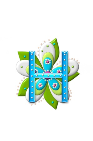 coordinating: H, in the alphabet set Petal Points is decorated with white 3D beads.  It sets on the top of a coordinating flower with green leaves.