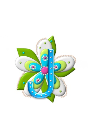 coordinating: J, in the alphabet set Petal Points is decorated with white 3D beads.  It sets on the top of a coordinating flower with green leaves. Stock Photo