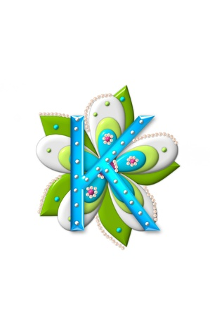 K, in the alphabet set Petal Points is decorated with white 3D beads.  It sets on the top of a coordinating flower with green leaves.