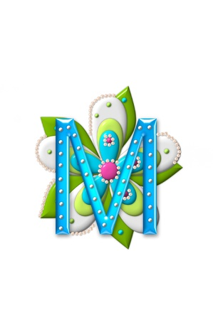 coordinating: M, in the alphabet set Petal Points is decorated with white 3D beads.  It sets on the top of a coordinating flower with green leaves.