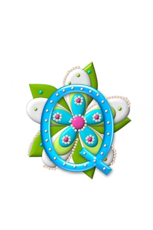 coordinating: Q, in the alphabet set Petal Points, is decorated with white 3D beads.  It sets on the top of a coordinating flower with green leaves. Stock Photo