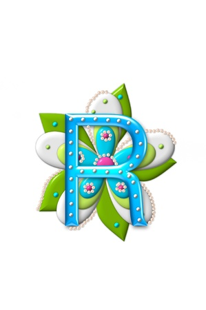 isolation: R, in the alphabet set Petal Points is decorated with white 3D beads.  It sets on the top of a coordinating flower with green leaves.