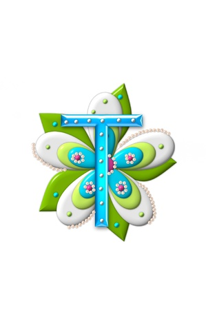 isolation: T, in the alphabet set Petal Points is decorated with white 3D beads.  It sets on the top of a coordinating flower with green leaves. Stock Photo