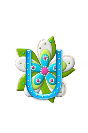 coordinating: U, in the alphabet set Petal Points is decorated with white 3D beads.  It sets on the top of a coordinating flower with green leaves. Stock Photo