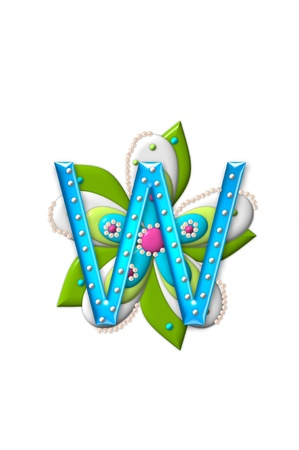 isolation: W, in the alphabet set Petal Points is decorated with white 3D beads.  It sets on the top of a coordinating flower with green leaves. Stock Photo