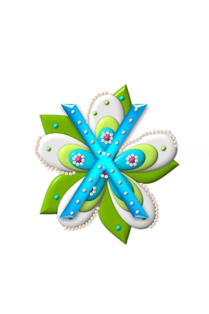 X, in the alphabet set Petal Points is decorated with white 3D beads.  It sets on the top of a coordinating flower with green leaves. photo