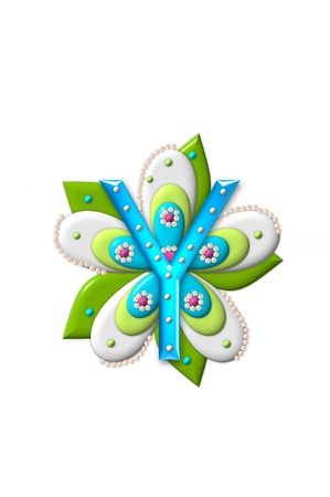 coordinating: Y, in the alphabet set Petal Points is decorated with white 3D beads.  It sets on the top of a coordinating flower with green leaves.