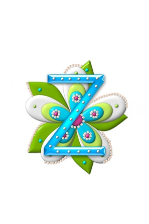 isolation: Z, in the alphabet set Petal Points is decorated with white 3D beads.  It sets on the top of a coordinating flower with green leaves. Stock Photo