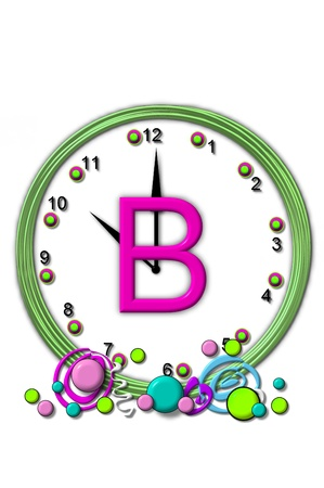 timeless: The letter B, in the alphabet set Timeless, is sitting in the middle of a wall clock.  Frame for clock is green and letter is hot pink.