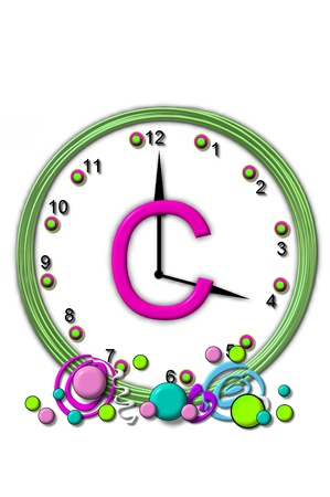 timeless: The letter C, in the alphabet set Timeless, is sitting in the middle of a wall clock.  Frame for clock is green and letter is hot pink. Stock Photo