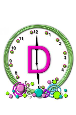 timeless: The letter D, in the alphabet set Timeless, is sitting in the middle of a wall clock.  Frame for clock is green and letter is hot pink.