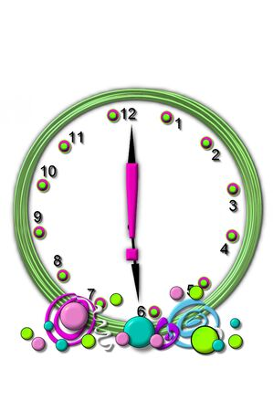 Exclamation Point , in the alphabet set Timeless, is sitting in the middle of a wall clock.  Frame for clock is green and letter is hot pink. photo