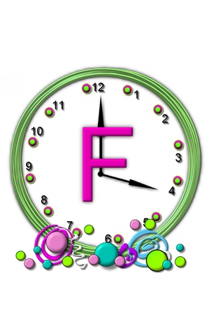 timeless: The letter F, in the alphabet set Timeless, is sitting in the middle of a wall clock.  Frame for clock is green and letter is hot pink.