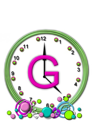 timeless: The letter G, in the alphabet set Timeless, is sitting in the middle of a wall clock.  Frame for clock is green and letter is hot pink. Stock Photo