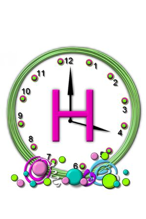 timeless: The letter H, in the alphabet set Timeless, is sitting in the middle of a wall clock.  Frame for clock is green and letter is hot pink.