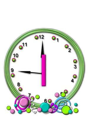 wasted: The letter I, in the alphabet set Timeless, is sitting in the middle of a wall clock.  Frame for clock is green and letter is hot pink. Stock Photo