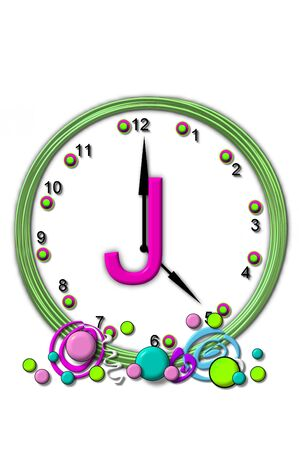 timeless: The letter J, in the alphabet set Timeless, is sitting in the middle of a wall clock.  Frame for clock is green and letter is hot pink. Stock Photo